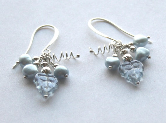 Fruit of the Spirit Grape Cluster Earrings... from Galatians 5-22 silver wire wrapped genuine powder blue pearls with crystal leaves and vines- post or clip-on also available