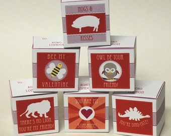 DIGITAL Valentines Treat Boxes in Pinks, White and Red - Perfect for your kids' class favors