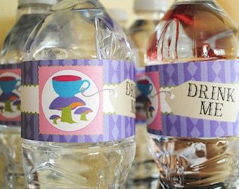INSTANT DOWNLOAD (Digital) Drink Me Bottle Wraps inspired by Alice in Wonderland - Water Bottle Labels or Napkin Rings