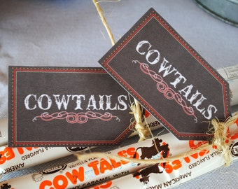 INSTANT DOWNLOAD (Digital) Cute Little Cowboy Cowtail Favor Tags for Rodeo Favors - Dark brown with red, white accents