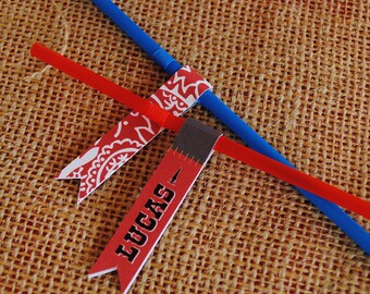DIGITAL Cute Little Cowboy Straw Flags - Red, brown and bandana designs