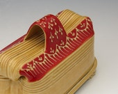 Handmade Butter dish with butter knife in Honey Gold Yellow and Bright Red
