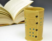 Cup Vase in Honey Gold and turquoise