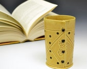Cup Vase in Honey Gold - Paisley and black dots