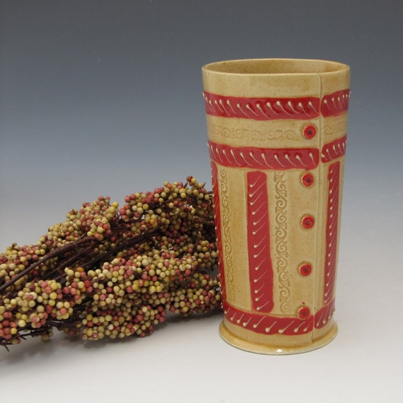 Bollywood Inspired Tumbler or Vase in Honey Gold and Bright Red