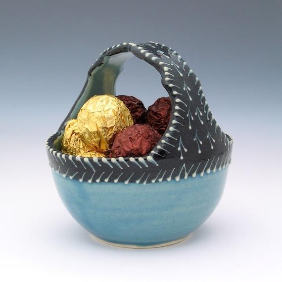 Ceramic Candy Basket or Jewelry Basket