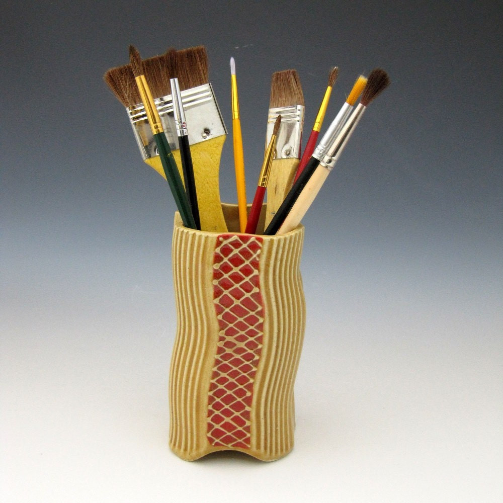 Paint brush Pen color pencil holder by Creativewithclay on Etsy