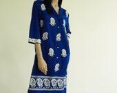 Vintage 1970s Alfred Shaheen Paisley Tropical Shirt Dress w/ Lace Trim
