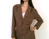 Vintage 1970s Ralph Lauren Brown Tweed Blazer