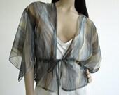 Vintage Blue Kimono Sleeve Blouse