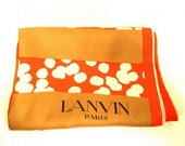 Vintage Designer Lanvin Oblong Hand Rolled Scarf