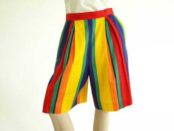 Vintage 1980s Rainbow Stripe Shorts Hip Hop Style