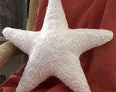 Small White Starfish Pillow Handmade from Upcycled Chenille/Hobnail/Popcorn Bedspreads