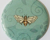 pocket mirror honey bee on aqua swirled fabric covered 2.25 inches pocket mirror