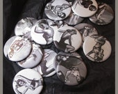 pocket mirrors, now in black and white One Dozen Pin Up Girls fabric covered 2.25 inch mirror  NEW FABRIC
