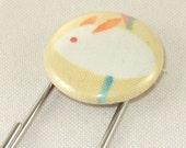 Jumbo paperclip bookmark very cute rabbit fabric covered one inch button jumbo paperclip bookmark