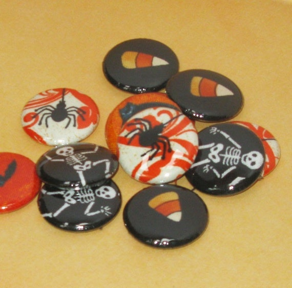 buttons or magnets one dozen assorted Halloween one inch buttons or magnets bats and candy corn