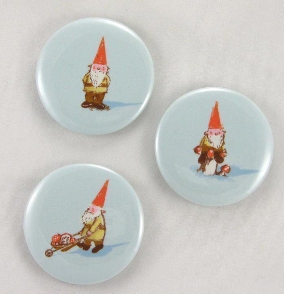 magnets Set of 3 Gnome fabric covered magnets 2.25 inches