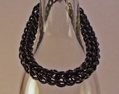 Chainmaille Bracelet In Black Stainless Steel Full Persian Nice Weight For Men But Is Good For Women Too