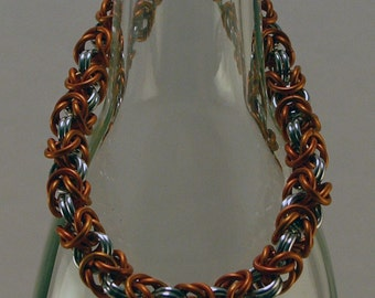 Chainmaille Bracelet Orange and Silver Anodized Aluminum Go Long Horns Pick Your Team Colors  For Men And Women