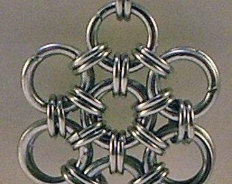 Chainmaille Pendant In Bright Aluminum