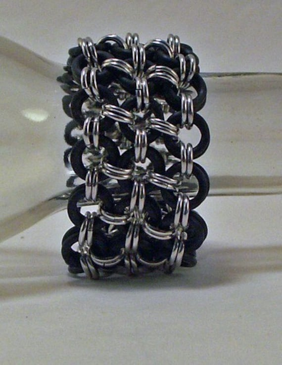 Chainmaille Bracelet Is Wide It's Made In Black EPDM And Aluminum It's Stretchy So No Need For A Clasp