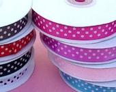 "5/8"" Grosgrain Polka Dot Ribbon Many Colors 10 Yards-WHOLESALE PRICES"