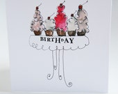 Set of 5 Illustrated Birthday Cards 5 x 5 Inch