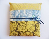 Screen Printed 13 x 13 inch Pillow Cover Yellow and Toile De Jouy