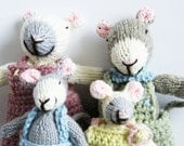 Knitted Mouse Family - Grey and White with Crochet Removeable Clothes
