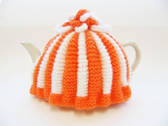 Knitted Tea Cosy -Orange and White with Knitted Flowers