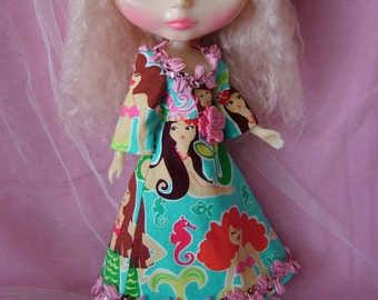 Long Boho Mermaid Dress for Blythe with Sequins and ribbon trim