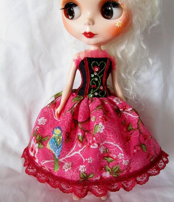 Sequin Birdie Corset Dress for Blythe Dolls