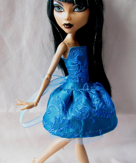 SALE Sparkly thread Teal Blue Brocade laceup dress for Monster High Dolls