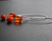 Orange Faceted Glass Dangle Earrings