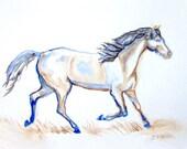 Running Horse Original Watercolor Painting