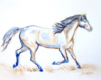 Running Horse Original Watercolor Painting