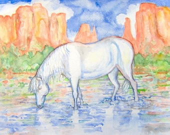 White Horse Original Painting