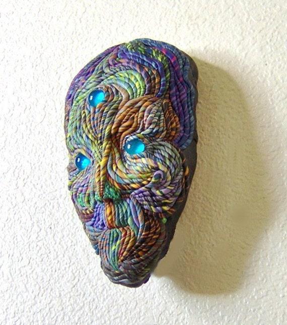 Wall Sculpture Alien Face Mask Blue Eyed OOAK