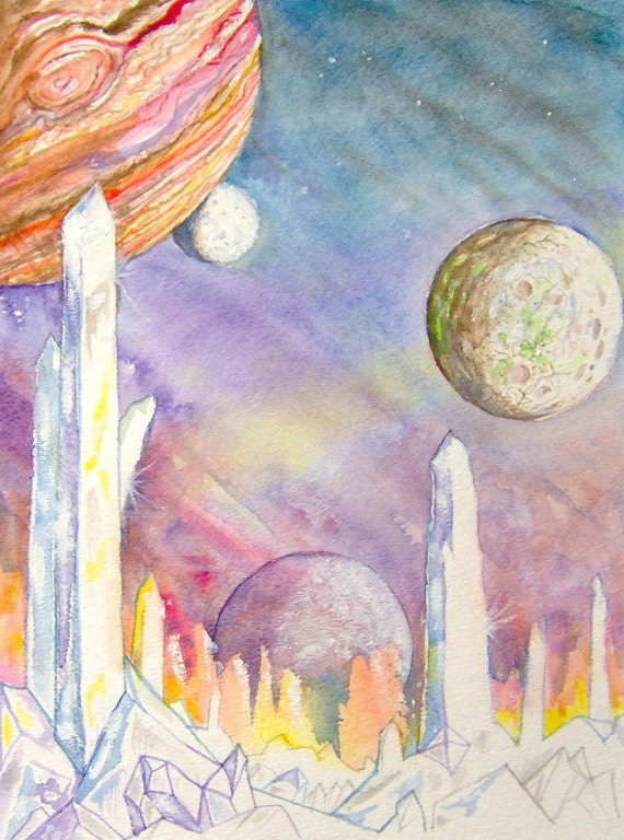 Crystal Moon Original Painting Science Fiction