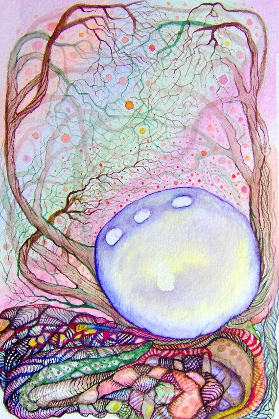 Alien Planet Original Watercolor Painting