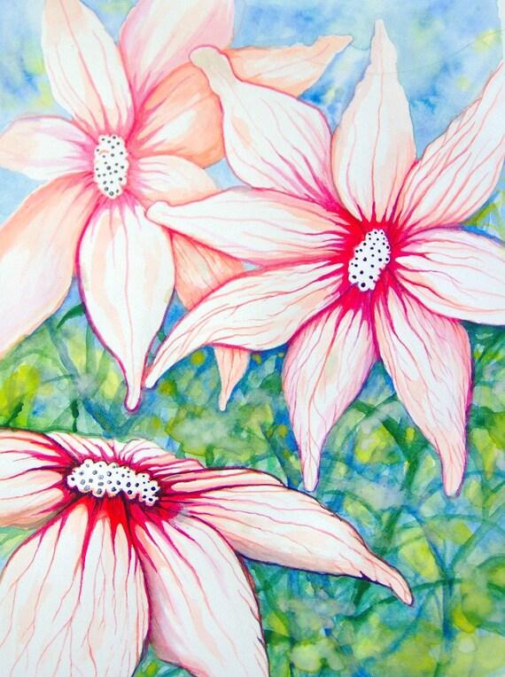 Fantasy Flowers Original Watercolor Painting
