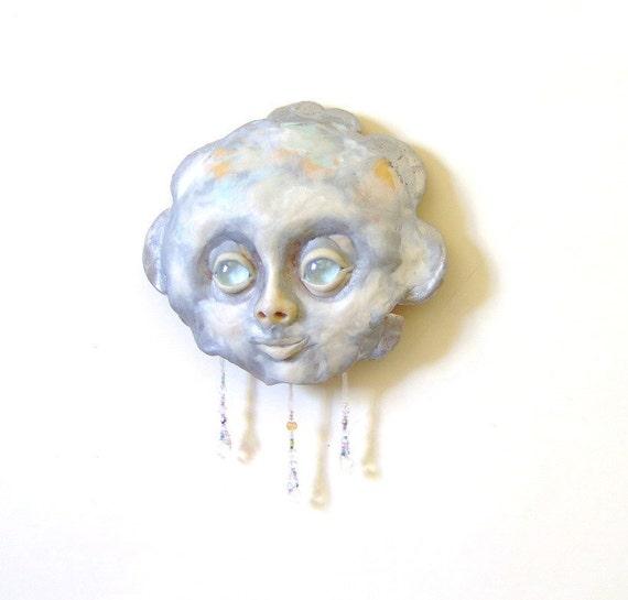 Tiny Rain Cloud Face Mask Sculpture