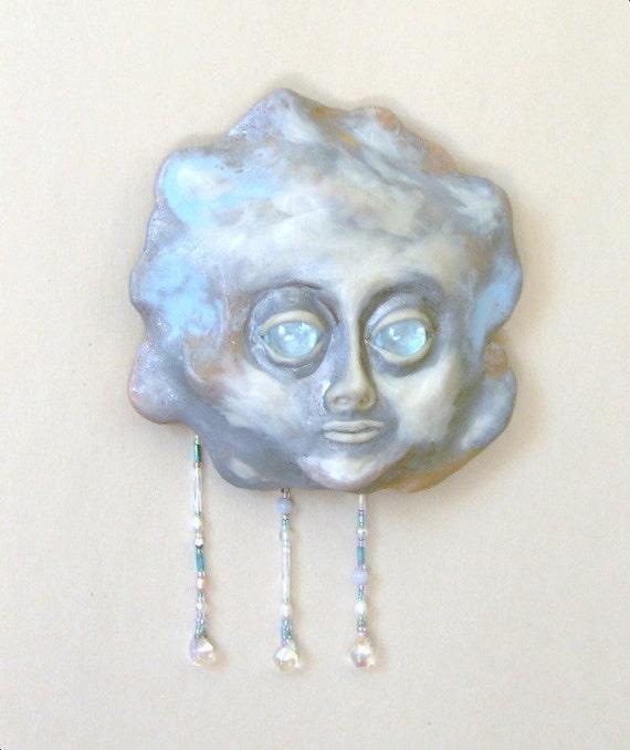 Little Raining Cloud Face Mask Sculpture OOAK