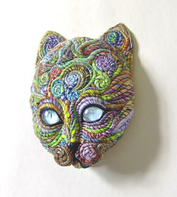 Cosmic Cat Galaxy Face Mask Sculpture  OOAK Blue Eyes