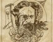 Chelydra Serpentina Original Fine Art Print 7 x 7
