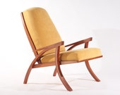 Arm Chair Fluidity In Leather Solid Wood Handmade Organic Finish Contemporary modern design