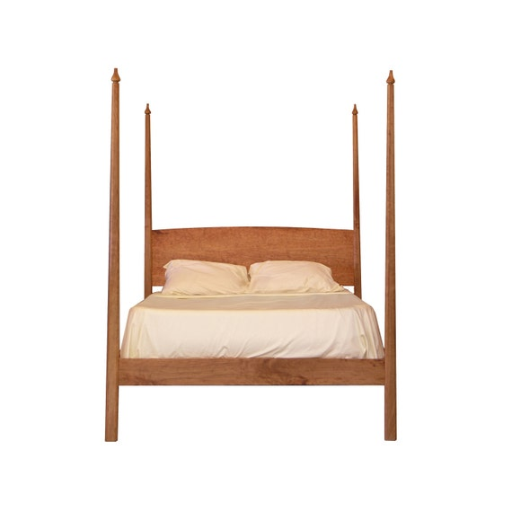 Pencil Post Bed with Canopy platform bed Solid wood Organic finish shaker style twin full queen king sizes