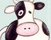 My moo moo - Whimsical Cow Animal Farm Cute Baby Nursery Art Print