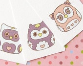 Owls Gift Tags Set - Valentine Day, favor tags, thank you tags, party printables, notecards, baby shower favor, instant download